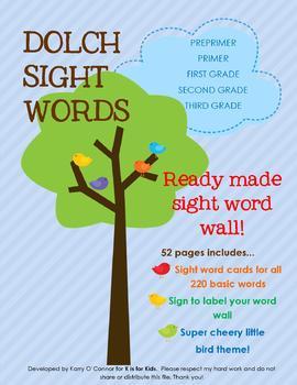 Dolch Sight Word Wall - preprimer, primer, first,second, third grade, prek, K