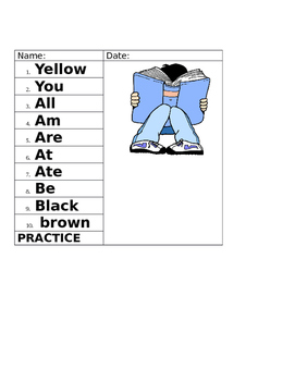 Dolch Sight Word Weekly Spelling List