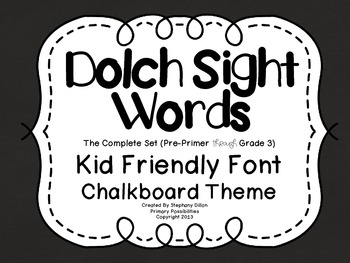 Dolch Sight Word {Word Wall Cards} Chalkboard Theme