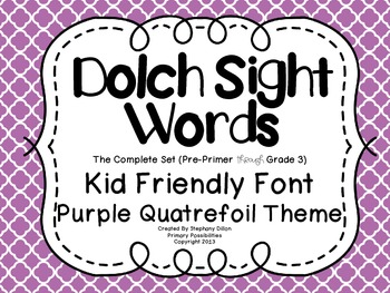 Dolch Sight Word {Word Wall Cards} Purple Quatrefoil Theme