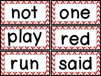 Dolch Sight Word {Word Wall Cards} Red Chevron Theme