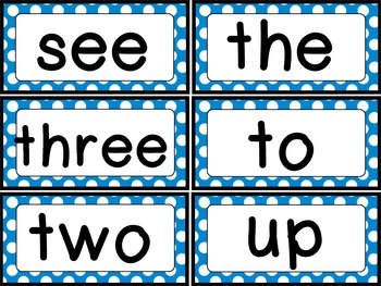 Dolch Sight Word {Word Wall Cards} Blue Polka Dots Theme