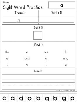 Dolch Sight Word Work Bundle {Trace It, Write It, Build It, Find It, Use It}
