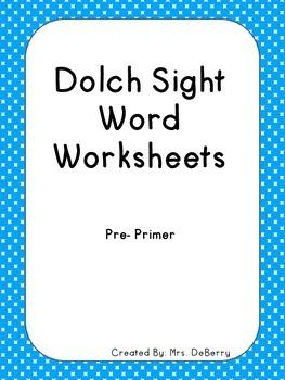 Dolch Sight Word Worksheets Pre-Primer