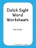 Dolch Sight Word Worksheets Pre-Primer