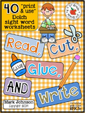 Dolch Sight Word Worksheets:  Read, Cut, Glue, and Write (