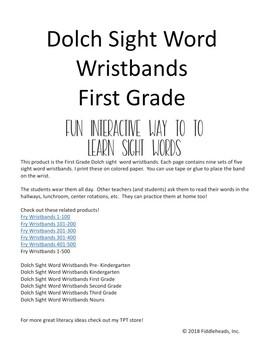 Sight Words Wristbands First Grade