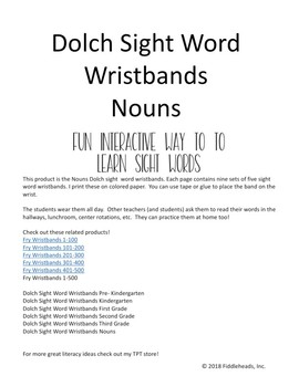 Sight Words Wristbands Nouns