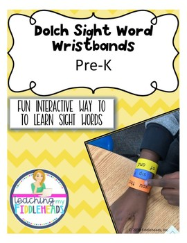 Dolch Sight Word Wristbands Pre-K Freebie