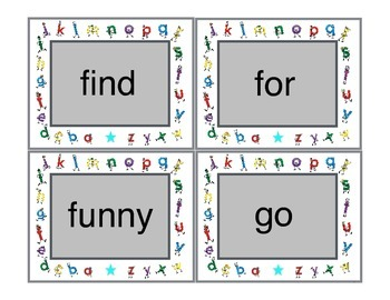 Dolch Sight Word cards for Bang and Memory Games - Pre-primer, Primer & 95 Nouns