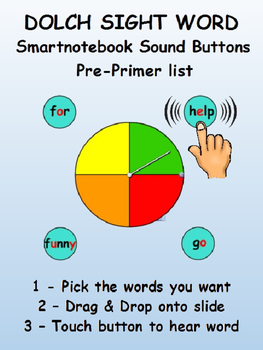 Dolch Sight Word sound buttons for Smartnotebook