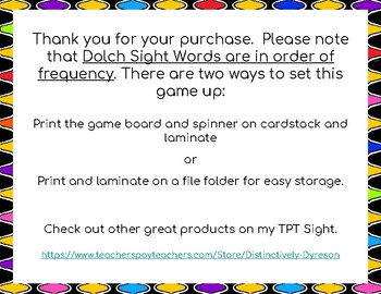 Dolch Sight Words 71-80 Board Game