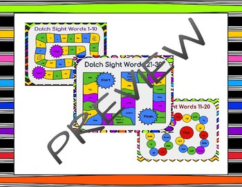 Dolch Sight Words 1-70 Board Games BUNDLE