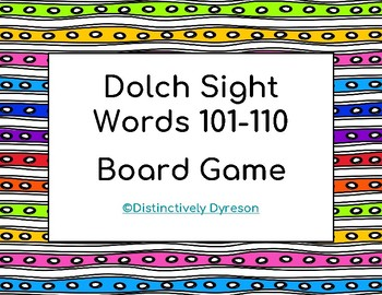 Dolch Sight Words 101-110 Board Game