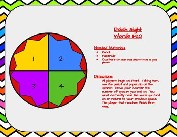 Dolch Sight Words 11-20 Board Game