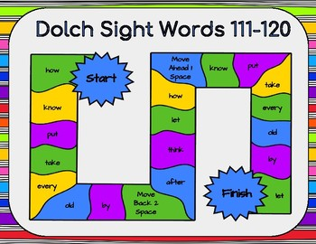 Dolch Sight Words 111-120 Board Game