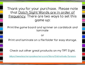Dolch Sight Words 121-130 Board Game