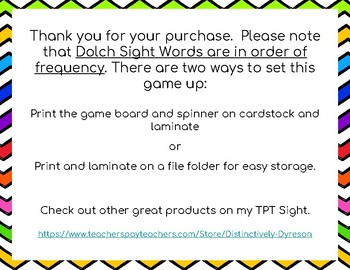Dolch Sight Words 171-180 Board Game