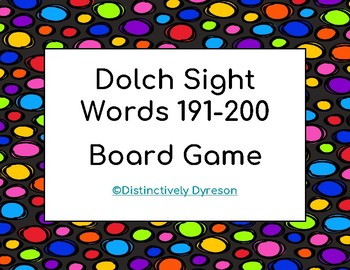 Dolch Sight Words 191-200 Board Game