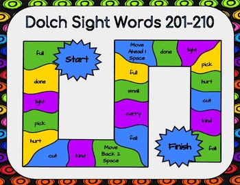 Dolch Sight Words 201-210 Board Game