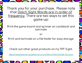 Dolch Sight Words 21-30 Board Game