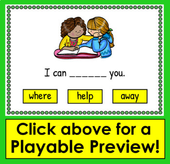 Boom Cards™ Sight Words Sentences Dolch 21-40 Interactive Cards