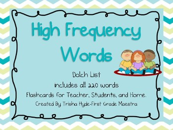 High Frequency Words Dolch List 220 HFW Flash Cards