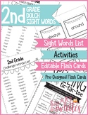 Dolch Sight Words & Spelling Activities - 2nd Grade - EDITABLE Flash Cards