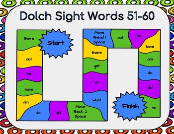 Dolch Sight Words 51-60 Board Game