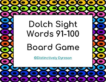 Dolch Sight Words 91-100 Board Game