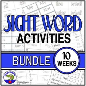 Dolch Sight Words Activities Bundle Weeks 1 - 10