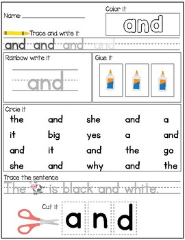 Dolch Sight Words Activities - PreK