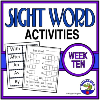 Dolch Sight Words Activities - Week 10