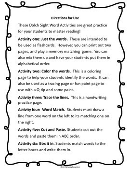 Sight Words Fuency Activities { Dolch } Week 6