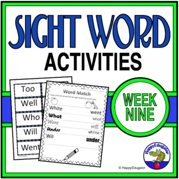 Dolch Sight Words Activities - Week 9