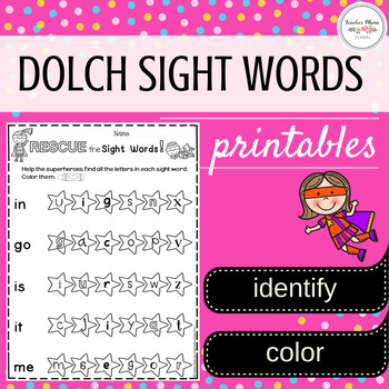 Sight Words Worksheets (Pre-Primer to First Grade)
