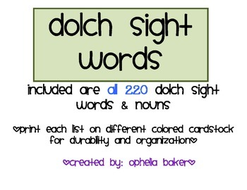 Dolch Sight Words All 220