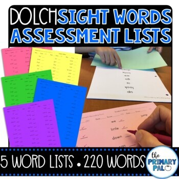 Dolch Sight Words Assessment Lists