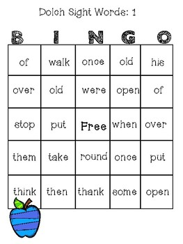 Dolch Sight Words BINGO: Grade 1