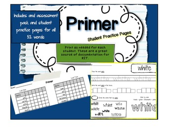 Dolch Sight Words BUNDLE- Student Practice Pages and Assessment
