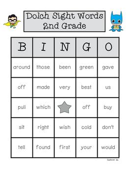 Dolch Sight Words Bingo 2nd Grade
