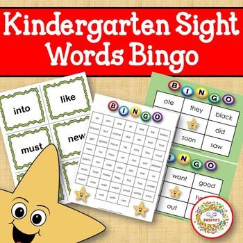 Dolch Sight Words Bingo - Kindergarten