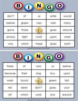 Dolch Sight Words Bingo - Second Grade