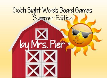 Dolch Sight Words Board Games Summer Edition
