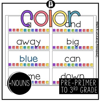 Dolch Sight Words (Bright Colors)