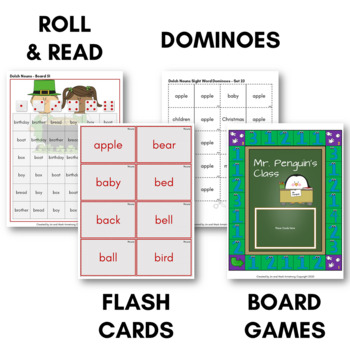 Dolch Sight Word Games (Nouns) - Bingo, Dominoes, and Board Games