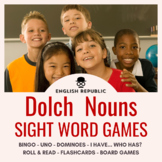 Dolch Sight Word Games (Nouns): Bingo, UNO, Dominoes, and Board Games