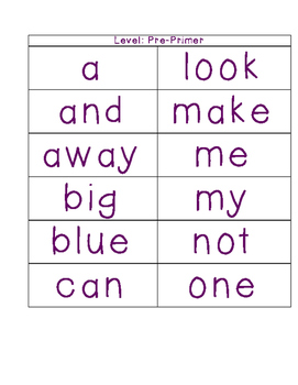 Dolch Sight Words Checklist and Flash Cards