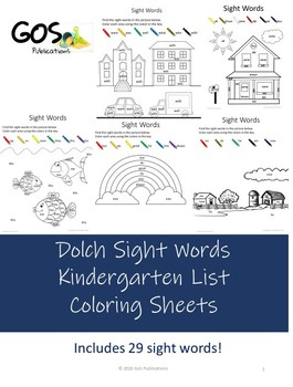 Dolch Sight Words - Coloring Sheets - Kindergarten {EDITABLE}