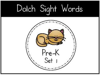 Dolch Sight Words - Digital Flashcards - Pre-K Set 1-3